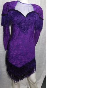 Vintage Legends Fringe Purple Dress Small